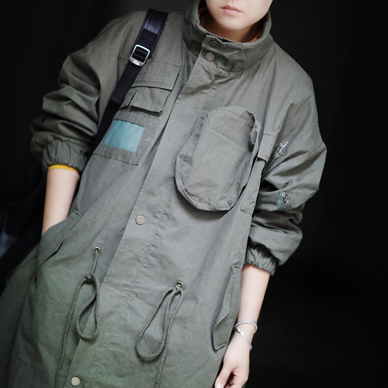 飘异2018秋冬新品军装风立体口袋长款高领风衣女韩版宽松长外套