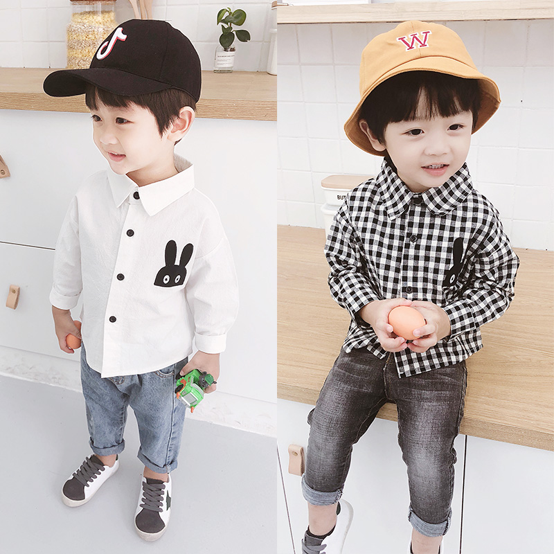 Детские сорочка мужской 2018 осень новая коллекция модные корейская версия детские для отдыха верх Одежды на мальчика длинный рукав белый рубашка 3 лет старого