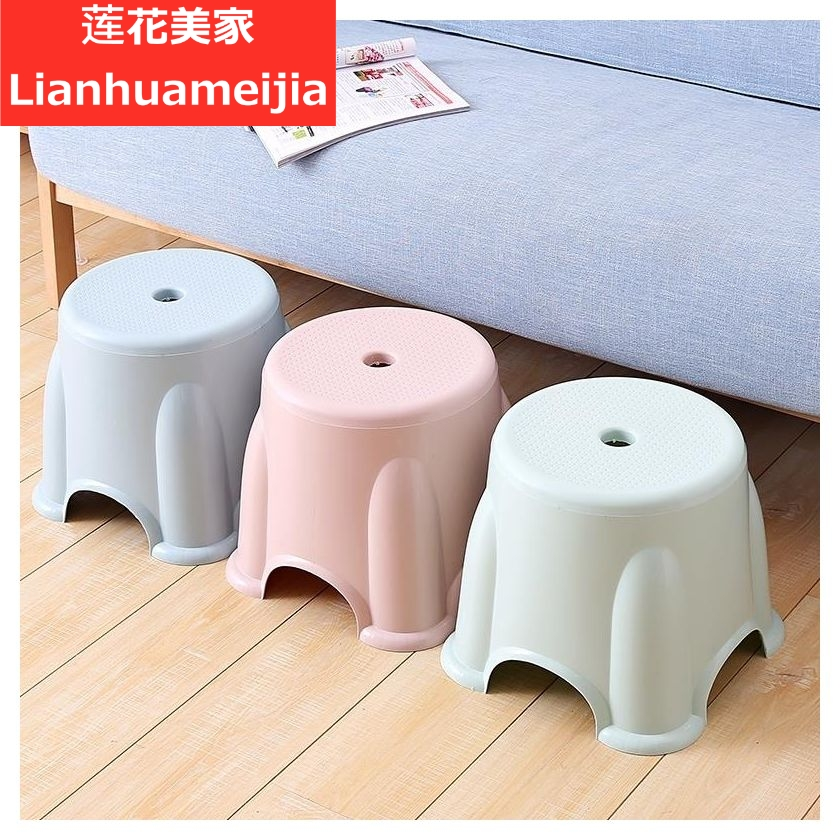 Tea flower plastic stool home thick adult striped high stool bathroom non-slip table stool for shoes small bench square chair