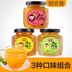 福事多蜂蜜柚子茶柠檬茶百香果茶240g*3瓶泡水喝的饮品冲泡茶饮水