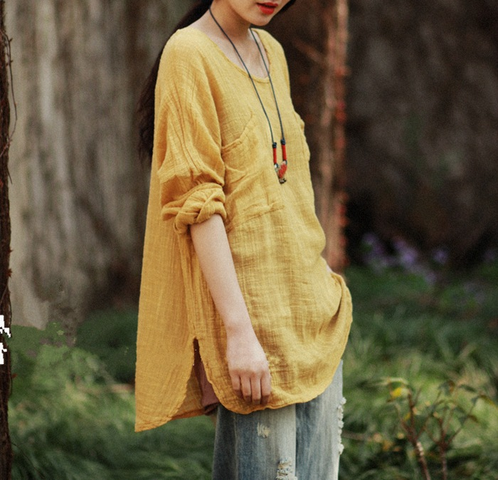2c8f4b3911e Detail Feedback Questions about Women Blouses Yellow Blusas Shirts Full  Sleeve Cotton Linen Women Tops Vintage Casual Women Shirts AF44 on  Aliexpress.com ...