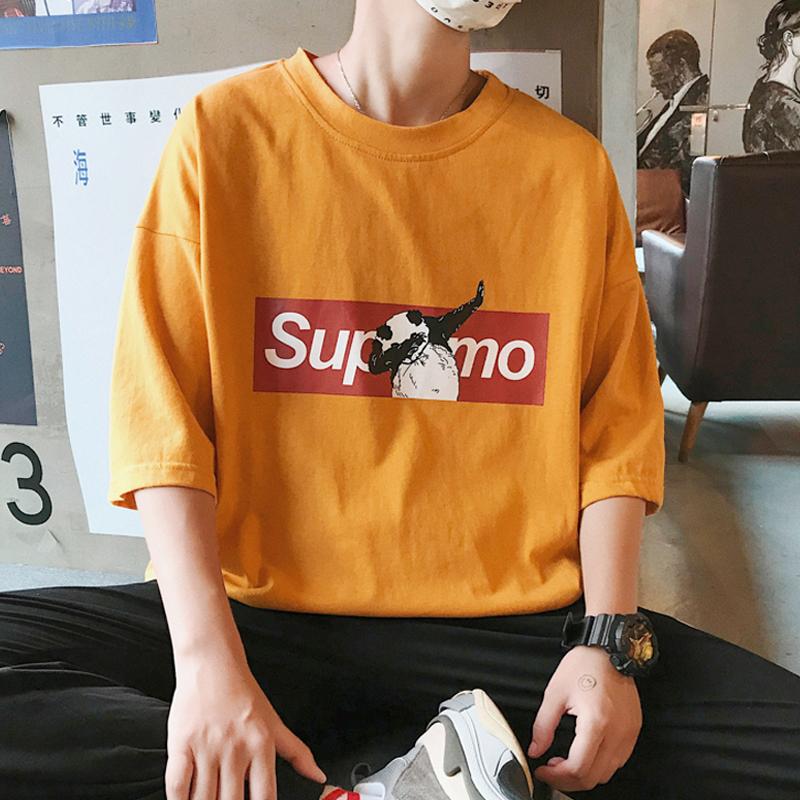 夏季学生男t恤韩版打底ins港风帅气半截袖上衣宽松短袖衫体恤潮流