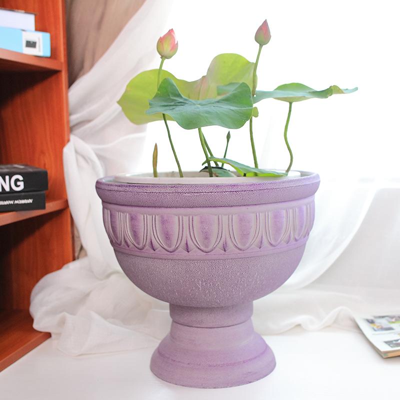 环球v花盆花盆睡莲a花盆杯塑料花盆个性创意欧式女王北欧荷花浮雕