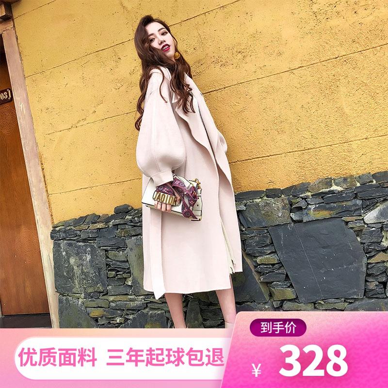 2019秋冬新款时尚灯笼袖宽松呢子大衣系带收腰中长款毛呢外套女装