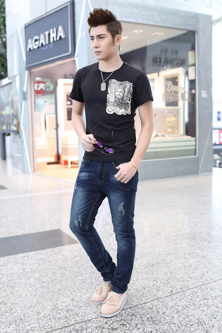 夏裝潮流霸氣關公紋身男士短袖t恤 滿背紋身印花個性修身半袖上衣圖片