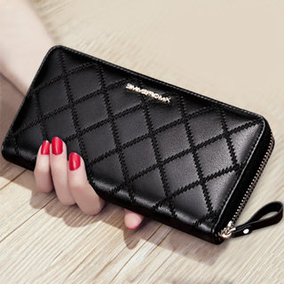 Wallet female long section 2021 new ladies simple leather wallet atmospheric small hand hold ladies bag can put mobile phone tide
