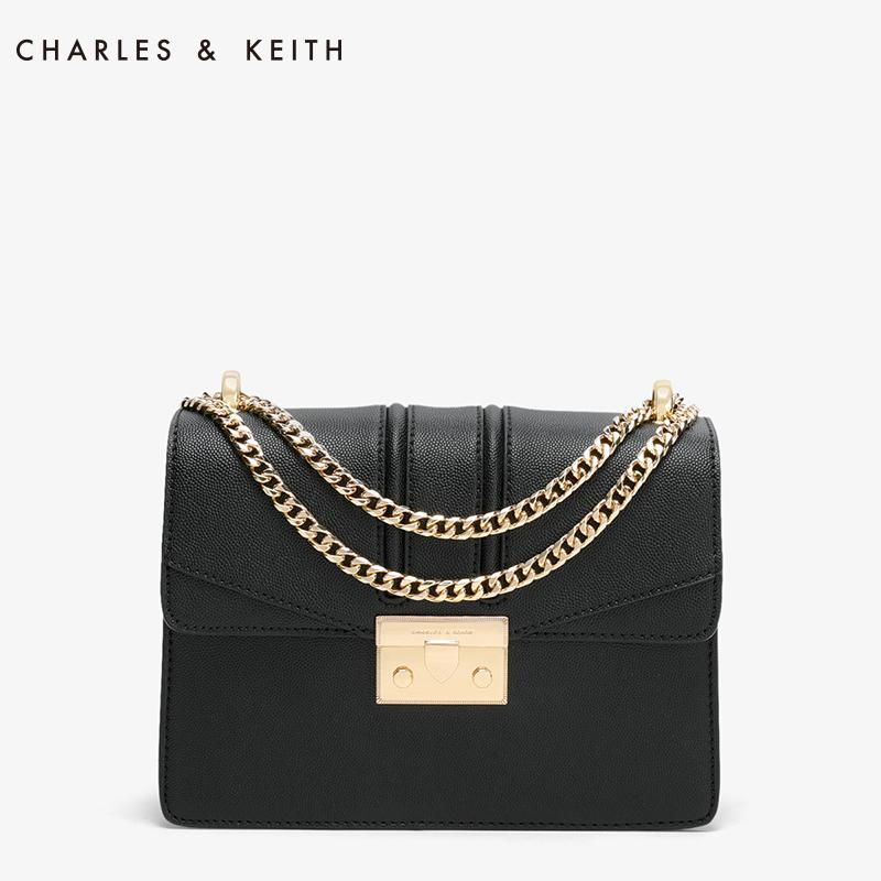 CHARLES&KEITH 酒神包 CK2-20680639 复古链条锁扣单肩斜挎包
