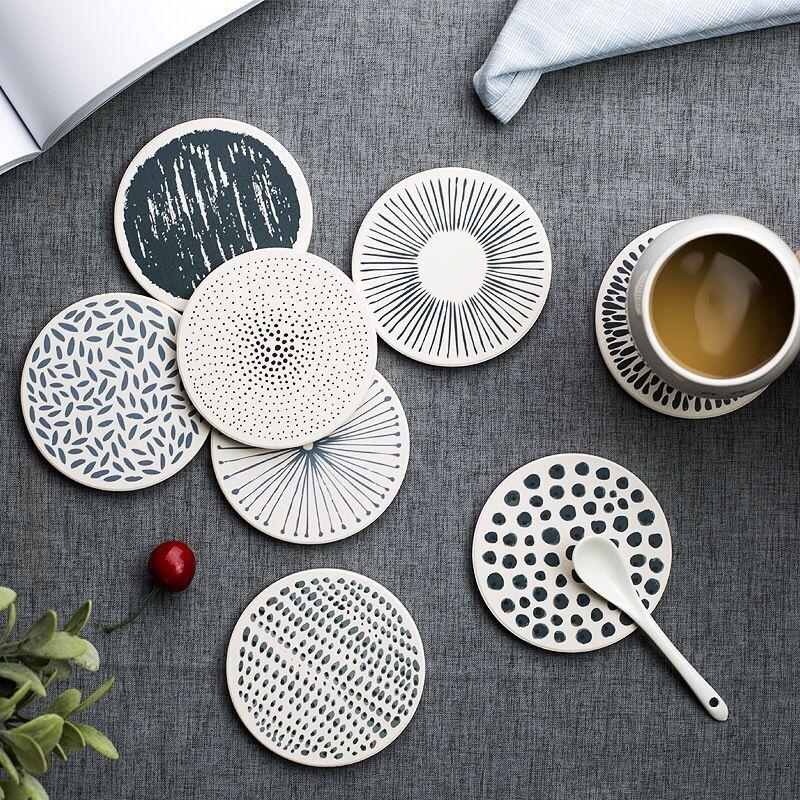 北欧ins硅藻土杯垫餐桌吸水速干隔热防烫垫肥皂防滑垫防滑茶杯垫