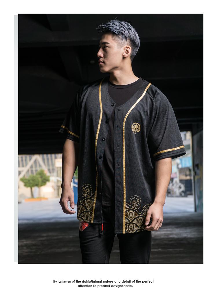 BD hươu thể thao nhà t-shirt nam ngắn tay Trung Quốc phong cách lưới thoáng khí vòng cổ đồng phục bóng chày áo sơ mi lỏng cardigan mùa hè