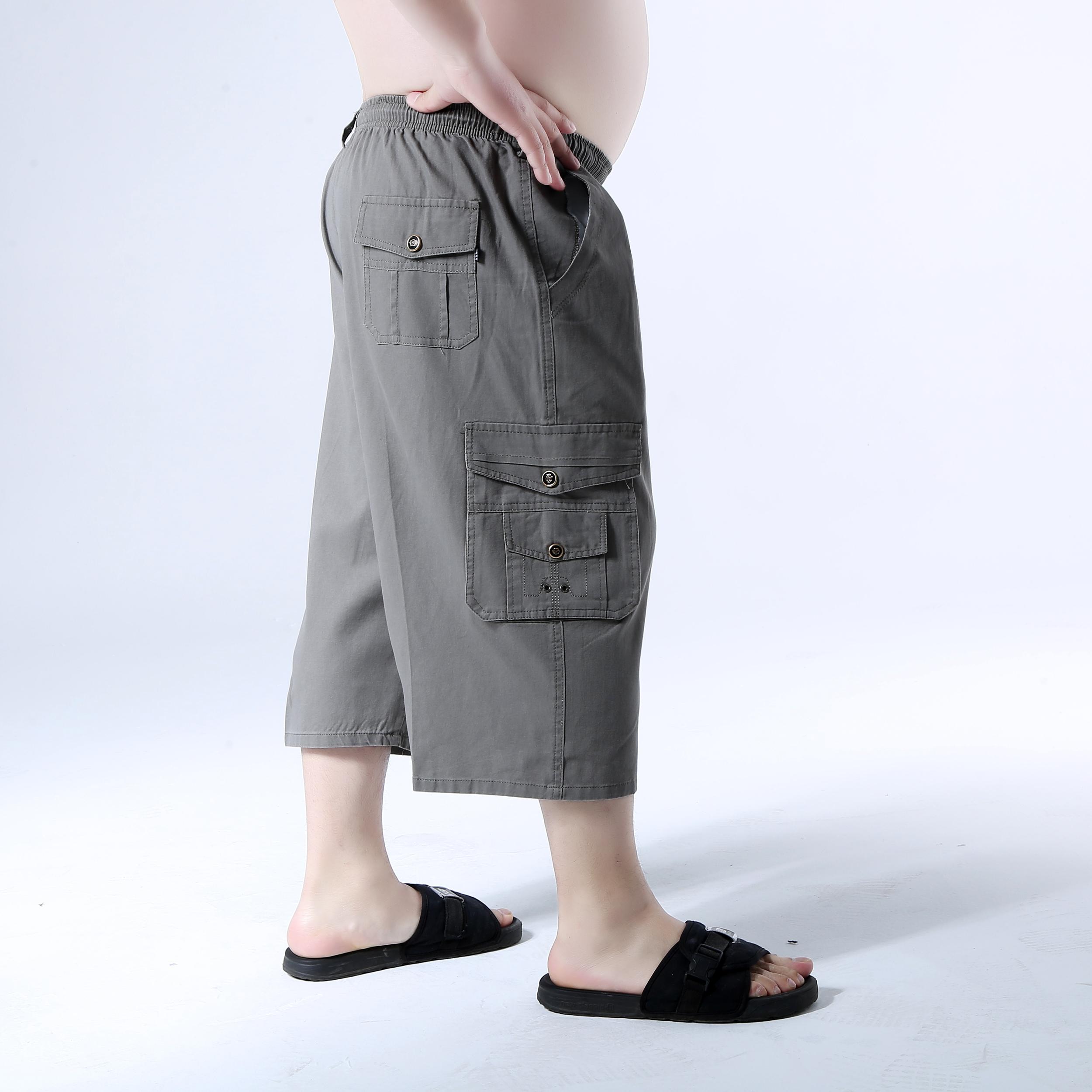Mùa hè người đàn ông trung niên của bông cắt quần lỏng thẳng quần trung niên đàn hồi eo 7 điểm dụng cụ quần short