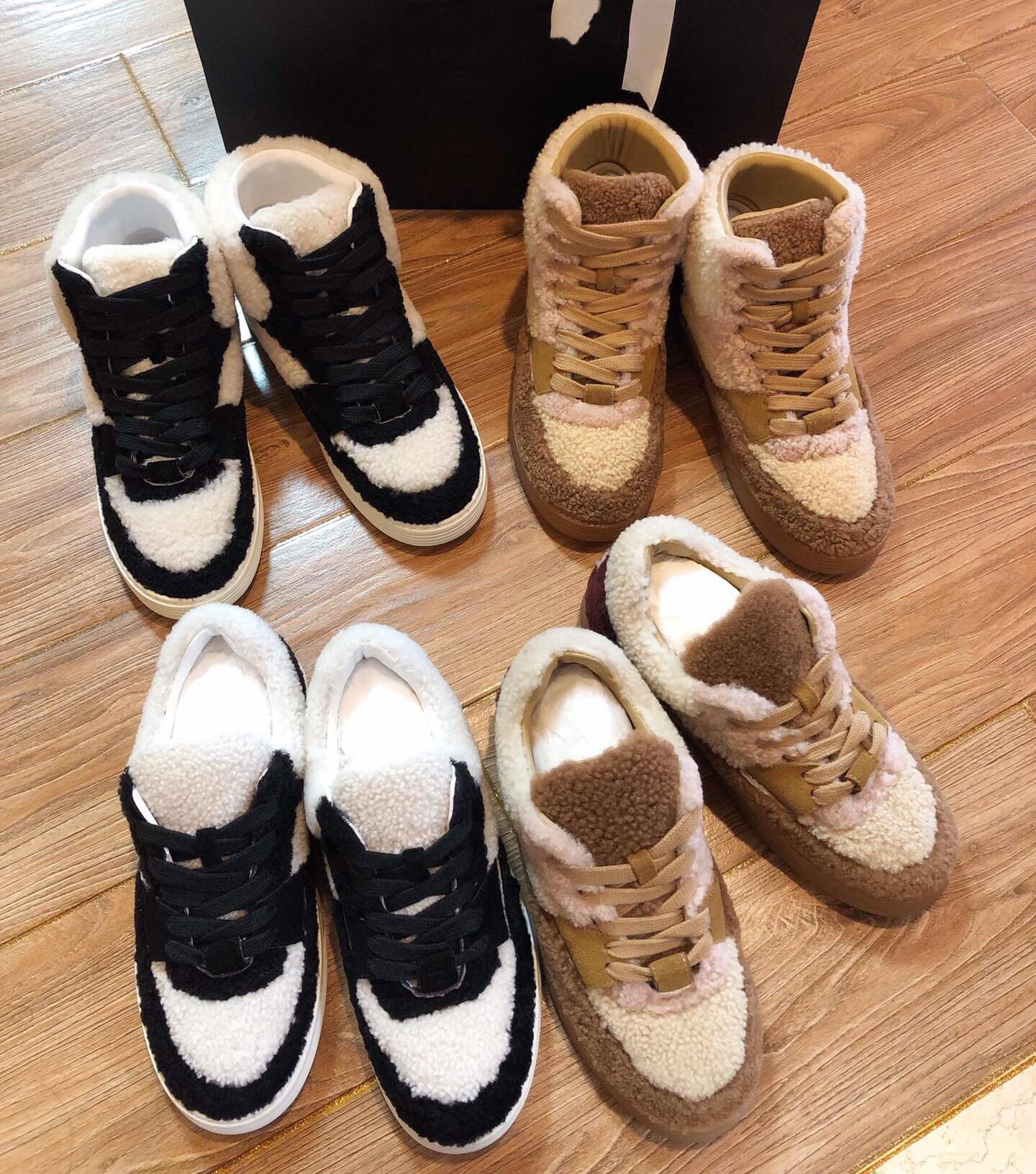 19 новинка зимний осеннний черно - белое заклинание цвет моросящий обувной панда толстая корка кружево спортивный досуг обувной шерсть один снег обувной 601859291124