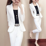 Spring and autumn new high-end women's white professional suit set female Korean fashion temperament Yinglan wind two-piece summer