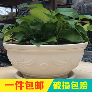 Alice thickened green plant pot resin pot round large fleshy pot balcony plastic spider plant pot