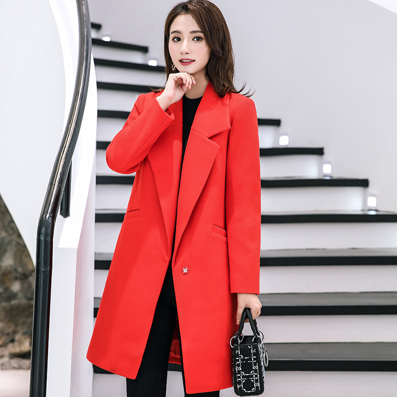 Woolen coat female long section 2018 autumn and winter new Korean version of the popular fashion loose thick woolen coat coat female