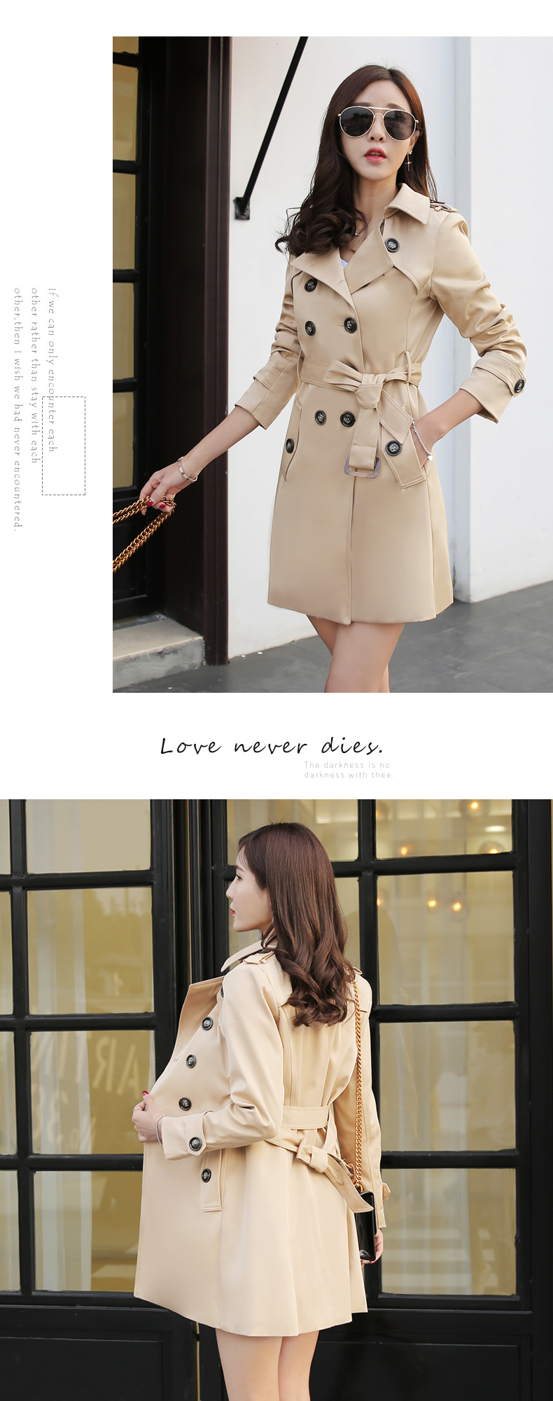 19 Autumn New Double Breasted Trench Coat Female High Quality Business Outerwear Woman Classic With Belt Long Trench Coat 8