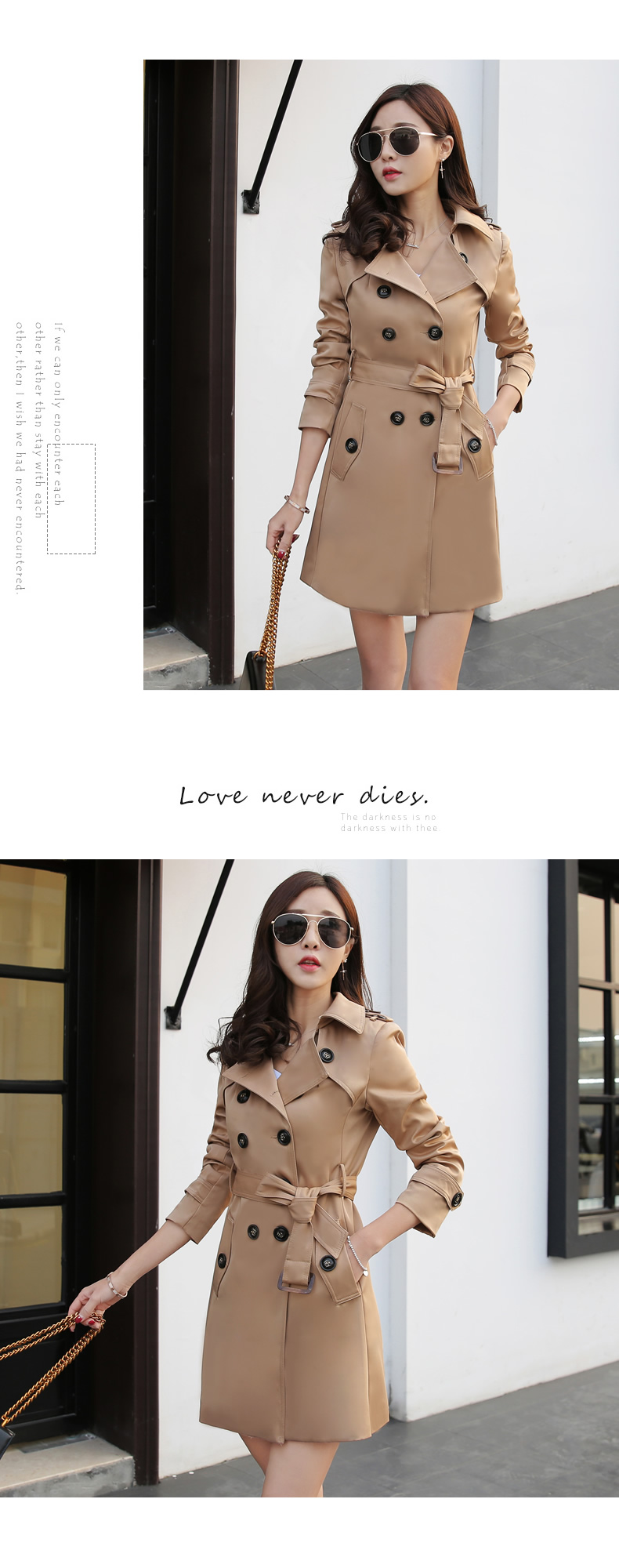 19 Autumn New Double Breasted Trench Coat Female High Quality Business Outerwear Woman Classic With Belt Long Trench Coat 9