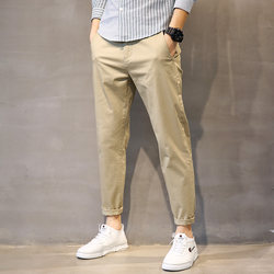 Autumn men's casual pants men's slim feet straight cotton khaki business trend loose nine-point pants men