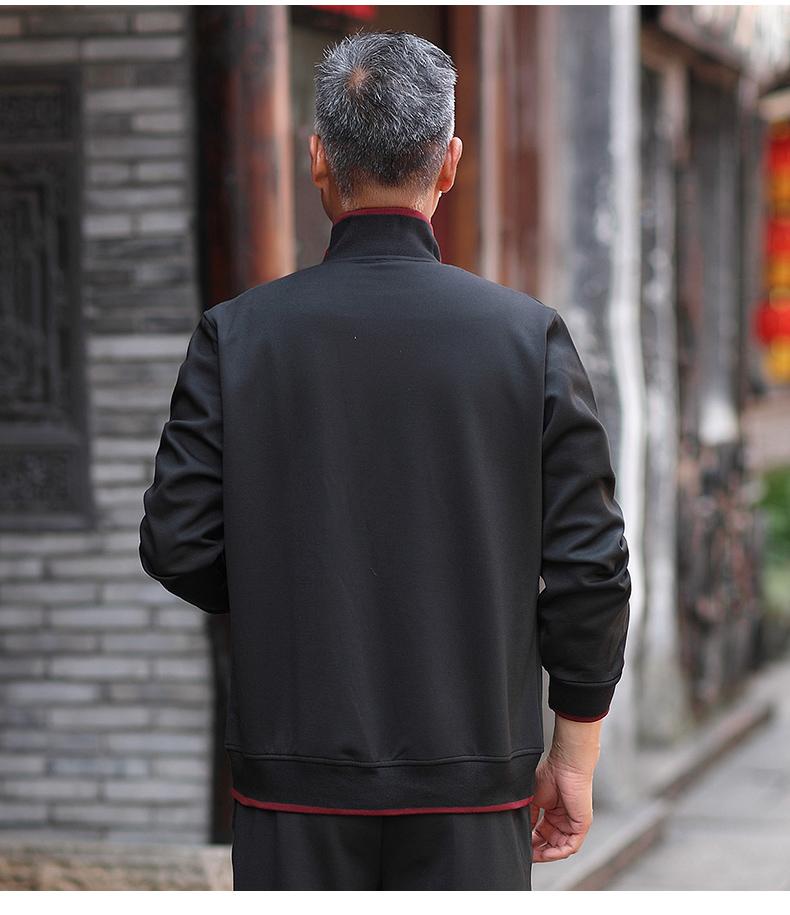 运动套装男秋跑步男士运动服装爸爸中老年两件套T875P60三件套P75