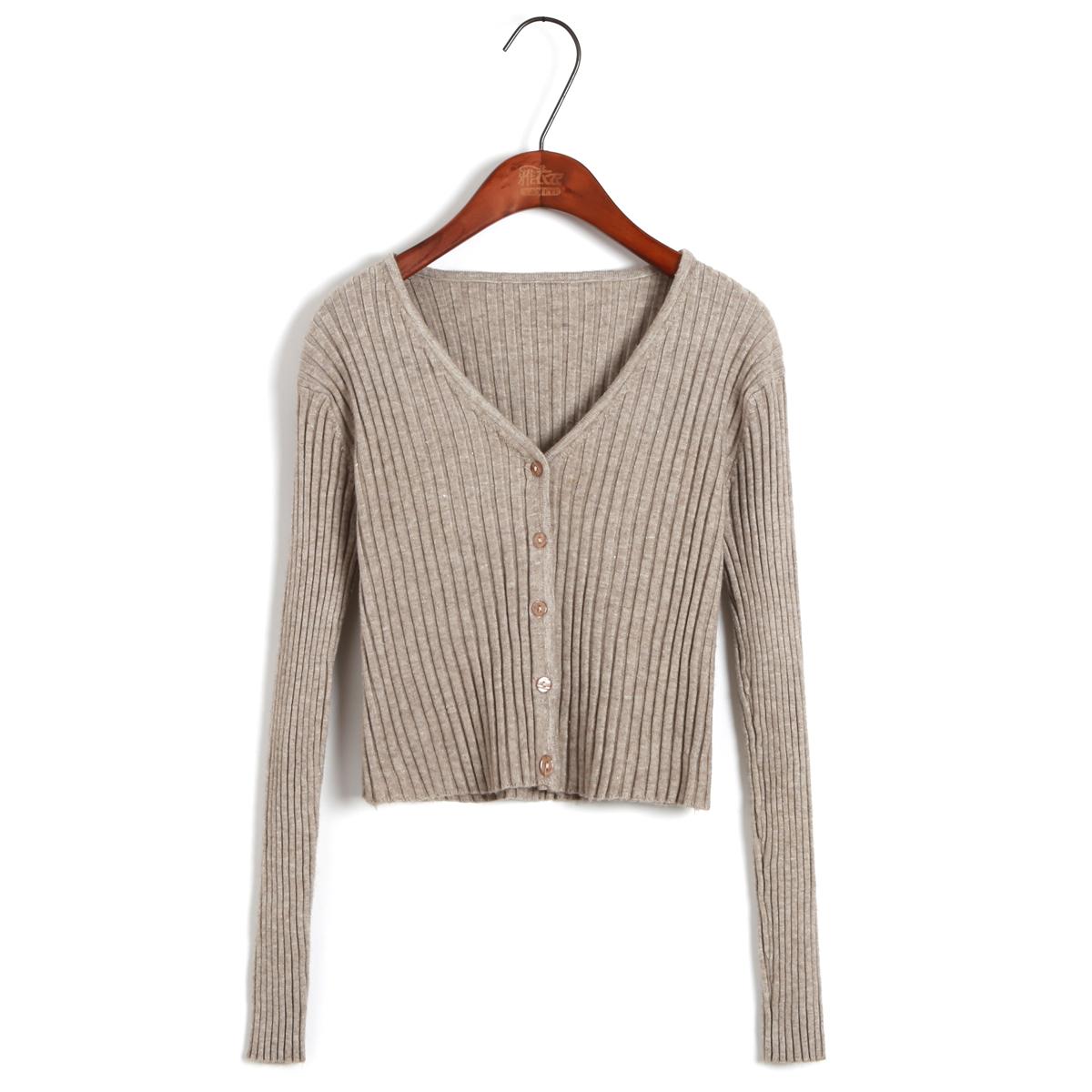 小款秋装超短款V领高腰针织衫纯色小个子外套开衫披肩外搭女毛衣