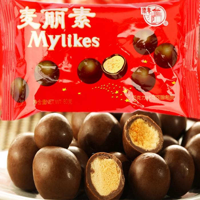 江苏特产食品80后零食童年代可可脂巧克力 梁丰麦丽素80g奶芯香脆