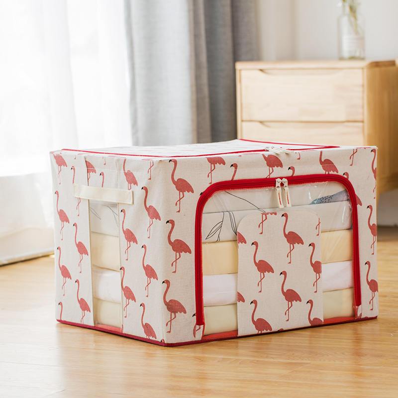 Three generations of odorless cotton and linen thickened four steel frame - red flamingo