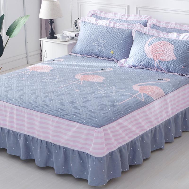 Bông chần duy nhất mảnh giường che giường váy loại dày bảo vệ 1.5 m 1.8 m không trượt chống bụi cotton trải giường