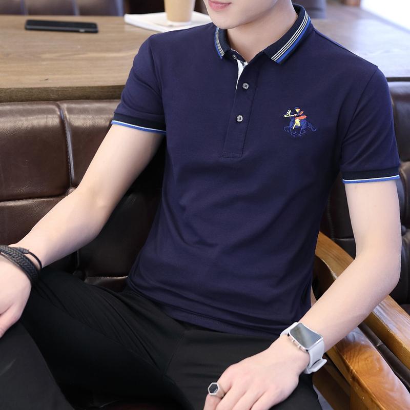 男士短袖T恤POLO衫纯棉半袖V领polo衫韩版潮牌立领夏装上衣