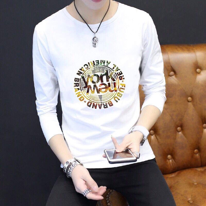 Người đàn ông Hàn Quốc ngắn tay t-shirt nam ngắn tay nam dài tay cổ tròn T-Shirt xu hướng đáy áo mùa hè cotton nửa tay quần áo nam áo thun nam trung niên