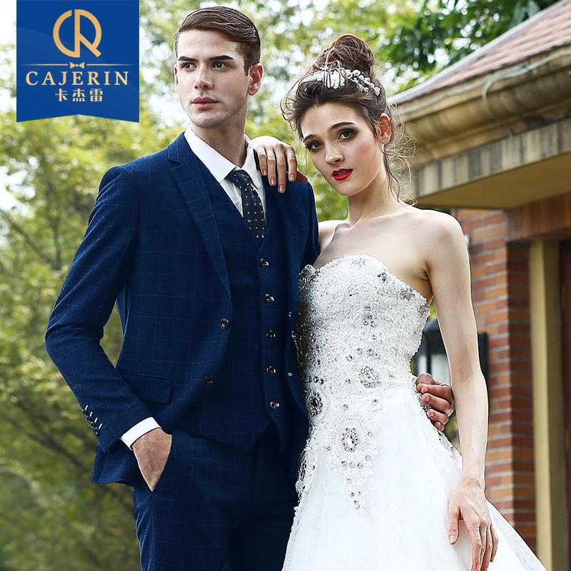 卡杰雷男士修身西服三件套装 格子商务休闲西装 结婚新郎礼服男装