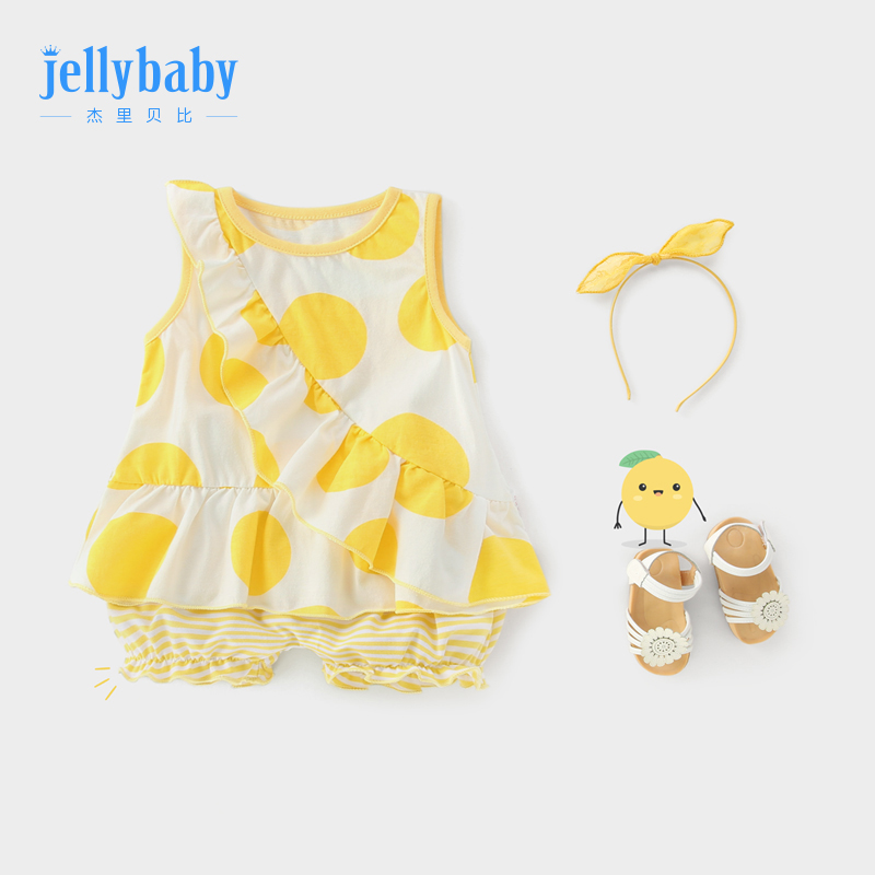 Girls summer suit 2019 New 1-2 years old children baby clothes 3 six months female baby summer dress two sets