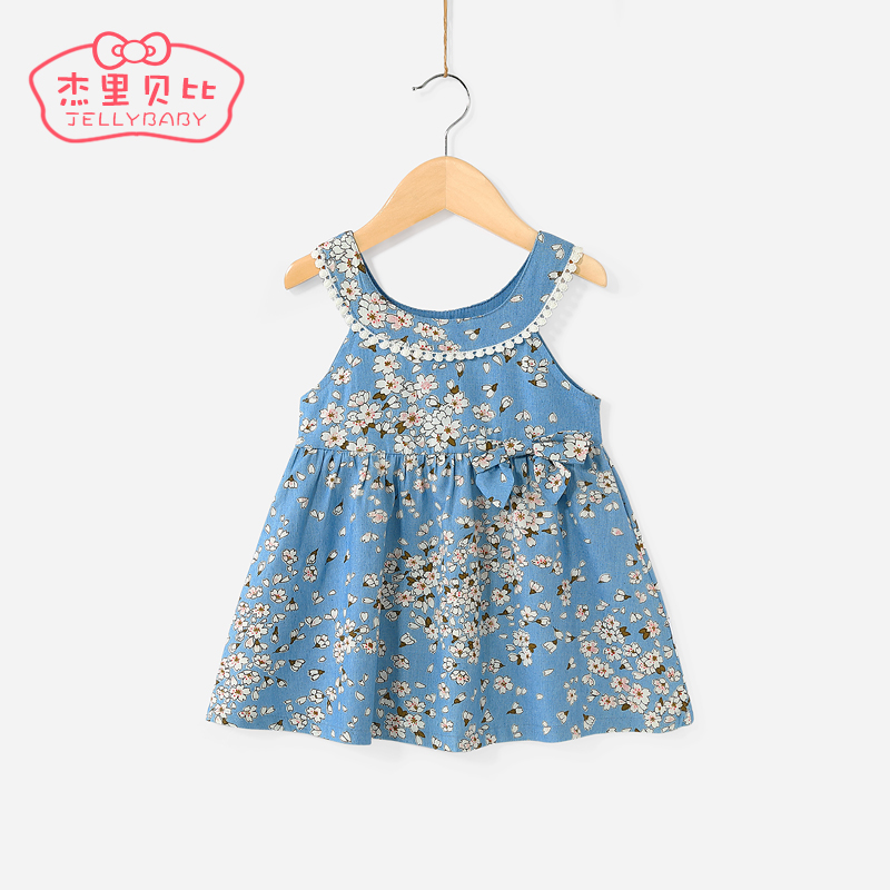 Girls dresses 0-1 year old baby princess skirt little girl Western summer children floral skirt 5 female baby summer dress