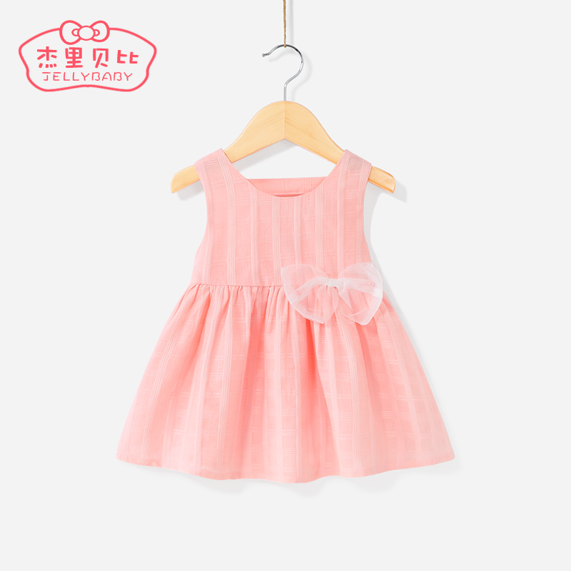 Female baby foreign skirt summer 0-1 year old baby princess dress cotton small children summer backless 6 girls dress