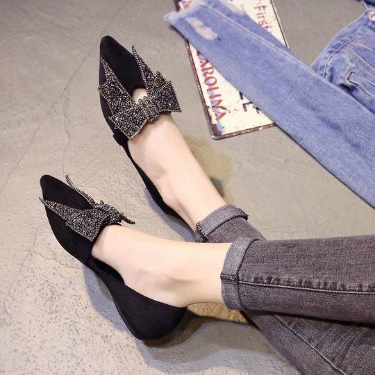 2018 autumn new single shoes pointed flat shoes female shallow mouth bow Korean version of the wild pregnant women peas shoes gentle
