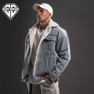 BD fitness station denim jacket men's winter windproof and warmth with velvet thickening wild fashion denim and lamb velvet jacket