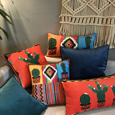 Double velvet cactus red pillow cushion center sea living room pillow set of literary sofa leaning on the pillow