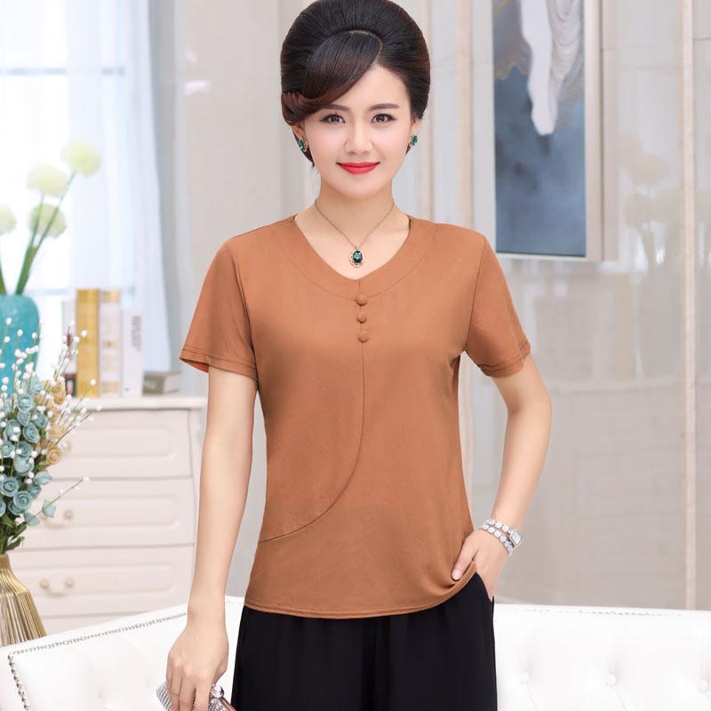 妈妈夏装短袖T恤中年女装上衣中老年夏季纯色棉麻大码母亲节衣服