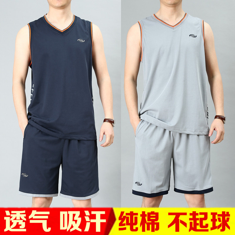 无袖纯棉背心男士跑步运动服短裤套装夏季健身房宽松透气v纯棉薄款