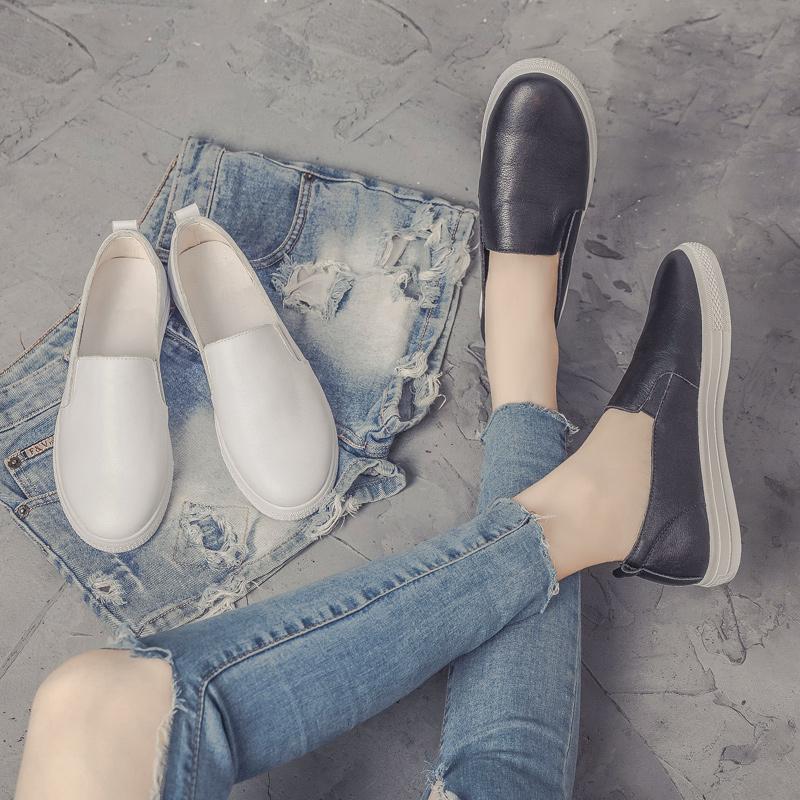 小白鞋女2018秋季新款韩版百搭真皮休闲女鞋懒人乐福鞋一脚蹬女鞋