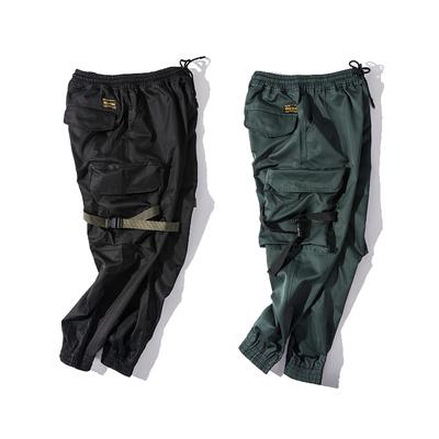 Mùa hè yếm nam thủy triều thương hiệu đa túi phần mỏng chức năng quần quần paratrooper hip-hop chín quần harem quần chùm quần