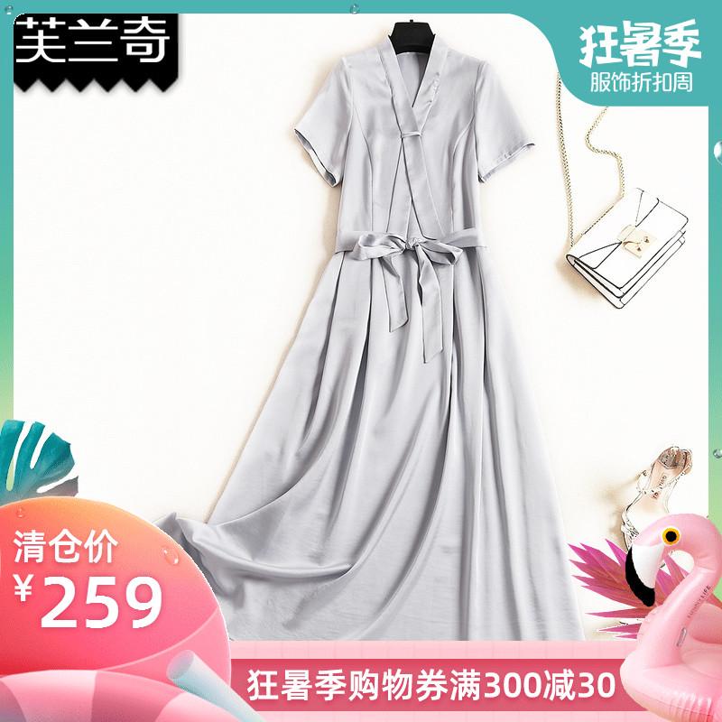 芙兰奇裙子女2019新款夏装长款韩版流行气质高腰显瘦V领连衣裙