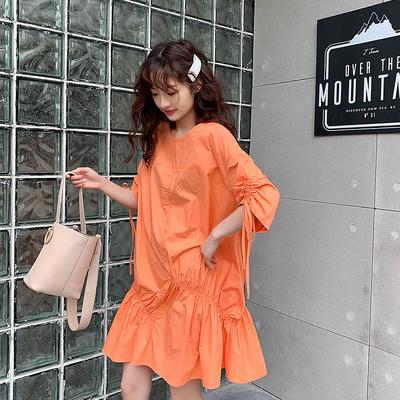 橘色橙色连衣裙女夏装宽松显瘦A字娃娃裙学生法式桔梗仙女裙