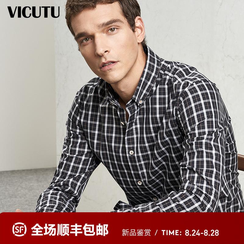 VICUTU/威可多商场同款男士长袖衬衫时尚休闲纯棉黑白格纹衬衣