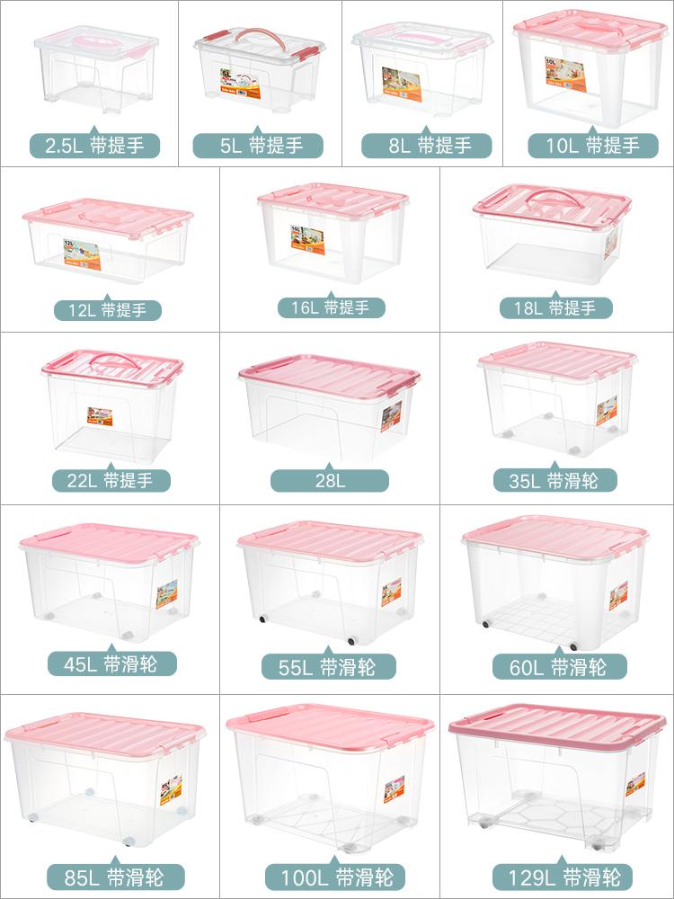 收纳箱塑料整理储蓄周转玩具盒零食特大号透明储衣物箱子车载有盖