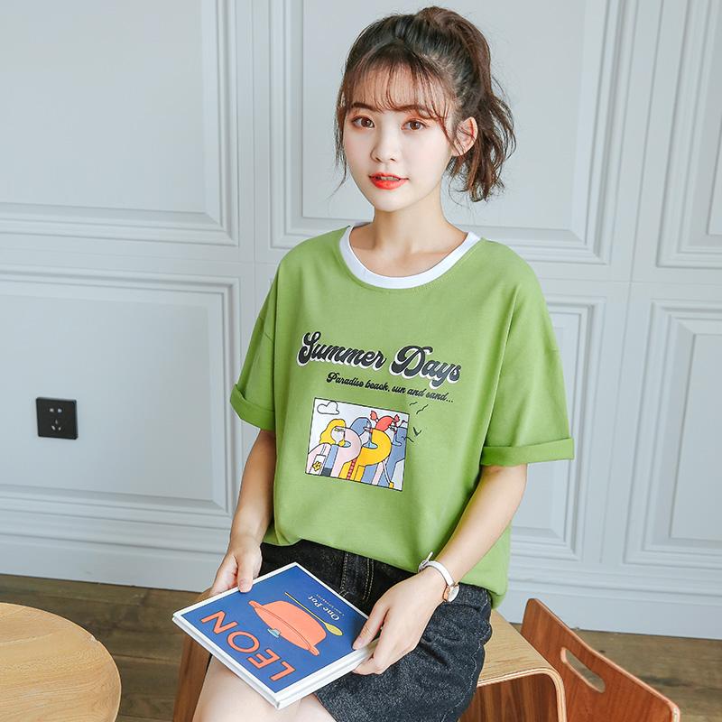 女装夏季2020年新款纯棉短袖t恤女宽松韩版半袖学生绿色上衣服潮