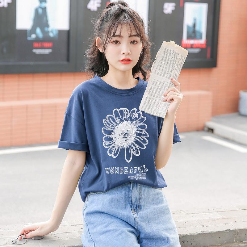 夏季2020年新款 纯棉短袖t恤女小雏菊宽松韩版学生半袖蓝色上衣服