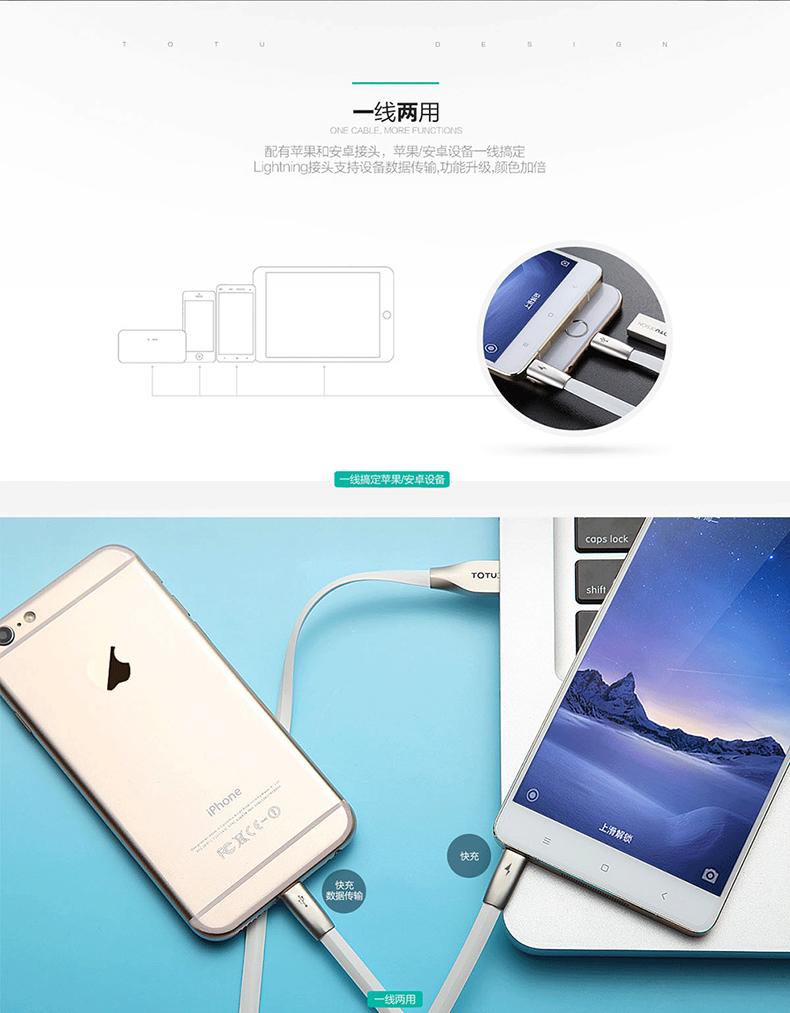 TOTU Zinc Alloy Connector Rhombic Quick Charge Lightning+Micro USB Cable for Apple iPhone iPad Android Smartphones Tablets