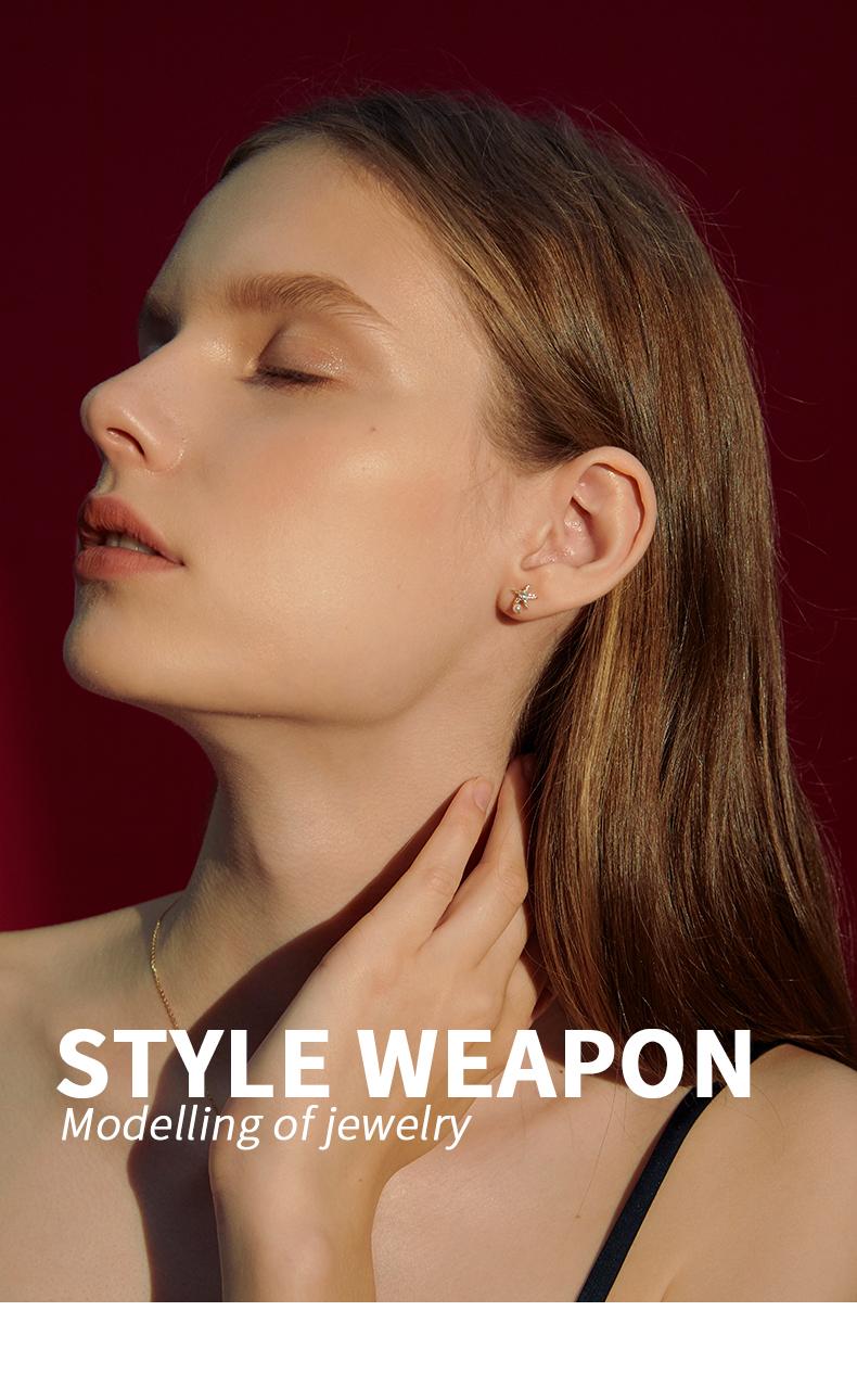 海星贝壳耳针简约女纯银小巧耳环不对称百搭秋冬耳饰品详细照片