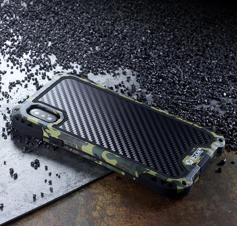 R-Just Amira Heavy Duty Dirtproof Shockproof Rainproof Aluminum Metal Bumper Carbon Fiber Back Cover Case for Apple iPhone X