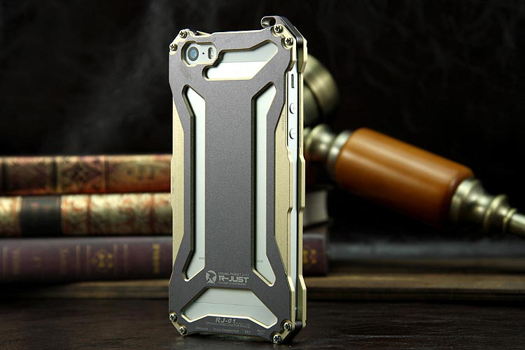 R-JUST GUNDAM Aerospace Aluminum Contrast Color Shockproof Metal Shell Outdoor Protection Protective Case for Apple iPhone SE/5S/5C/5