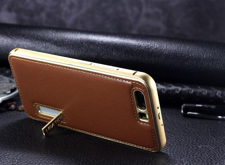 iMatch Luxury Aluminum Metal Bumper Premium Genuine Leather Back Cover Case for Huawei P10 Plus & Huawei P10